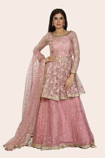Picture of Trendy Carrot Pink Colored Party Wear Net Lehenga Choli
