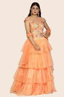 Picture of Marvellous Peach Colored Partywear Embroidered Soft Net Lehenga Choli