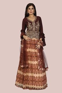 Picture of Mesmeric Brown Colored Partywear  Lehenga Choli