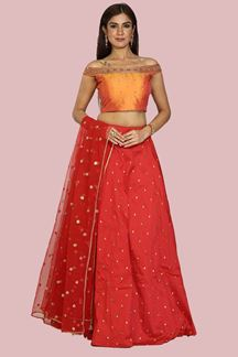 Picture of Fantastic Red-Yellow Colored Partywear Floral Lehenga Choli