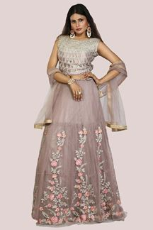 Picture of Entrancing Lavender Colored Partywear Embroidered Netted Lehenga Choli