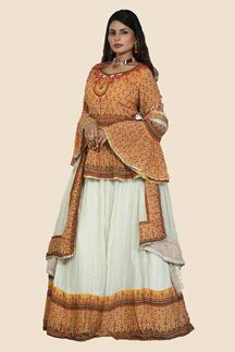 Picture of Capricious Mustard & Red Colored Partywear Lehenga Choli