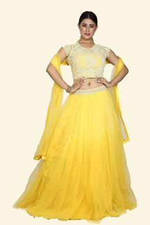 Picture of Blissful Yellow Colored Partywear Net Lehenga Choli