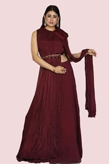 Picture of Desirable Wine Colored Party Wear Georgette Lehenga Choli