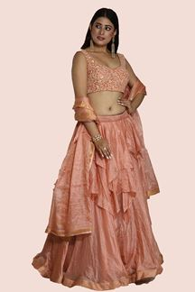 Picture of Excellent Peach Colored Partywear Lehenga Choli