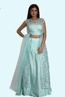 Picture of Sky Blue Color Art Silk Designer Lehenga Choli