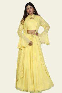 Picture of Refreshing Lemon Yellow Colored Georgette Lehenga Choli