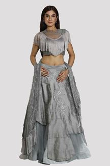 Picture of Gorgeous Grey Colored Partywear Raw Silk Lehenga Choli