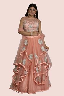 Picture of Groovy Pink Colored Party-Wear Netted Lehenga Choli