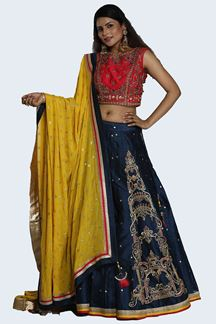 Picture of Intricate Blue & Pink Colored Party Wear Art Silk Lehenga Choli