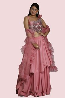 Picture of Dazzling Onion Pink Colored Partywear Lehenga Choli
