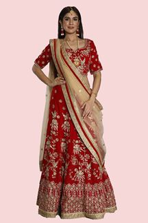 Picture of Flaunt Red Colored Embroidered Velvet Lehenga Choli