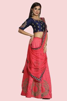 Picture of Demanding Pink- Blue Silk Lehenga Choli