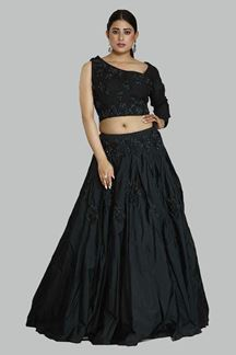 Picture of Demanding Black Colored Designer Silk Lehenga Choli