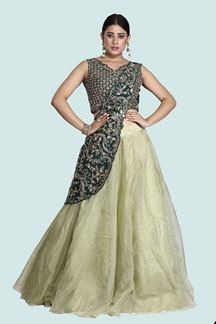 Picture of Gorgeous Mehendi Green Colored Designer Raw Silk Lehenga Choli