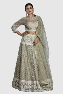 Picture of Olive Green Embroidered Net Lehenga Choli