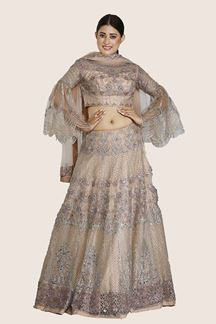 Picture of Pleasance Peach Colored Embroidered Net Lehenga Choli