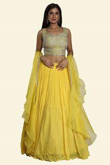 Picture of Yellow Georgette Fabric Lehenga Choli