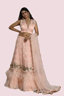 Picture of Amazing Peach Colored Partywear Embroidery Lehenga Choli