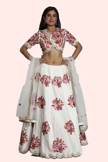 Picture of Magnetic White Colored Embroidered Art Silk Lehenga Choli