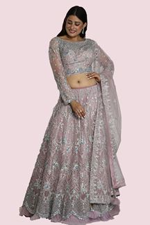 Picture of Mauve Colored Designer Net Lehenga Choli