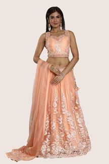 Picture of Desirable Peach Colored Party Wear Net Lehenga Choli