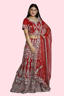 Picture of Demanding Red Colored Wedding Wear Net Lehenga Choli