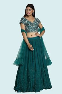 Picture of Green Color Designer Raw Silk lehenga Choli