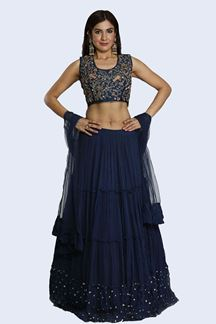 Picture of Graceful Navy Blue Colored Designer Raw Silk Lehenga Choli
