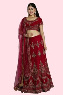 Picture of Delightful Magenta Colored Designer Velvet Lehenga Choli