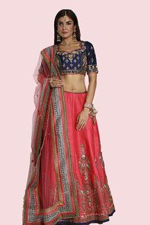 Picture of Navy Blue & Dark Peach Color Designer lehenga Choli