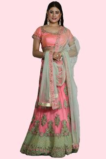 Picture of Neon Pink & Sea Green Colored Partywear Embroidered Net Lehenga Choli