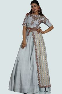 Picture of Classy Grey Colored Partywear Embroidered Raw Silk Lehenga Choli