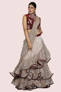 Picture of Gorgeous Peach- Maroon Color Layer Lehenga Choli