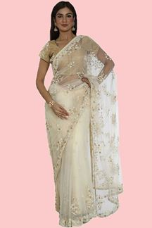 Picture of Mesmerising Cream Colored Party Wear Embroidered Net Saree