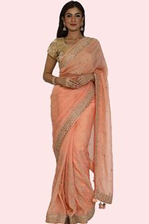 Picture of Stunning Peach Colored Partywear Embroidered Tissue Silk Saree
