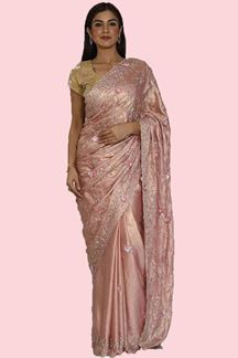 Picture of Innovative Pink Colored Shimmer Crepe Saree