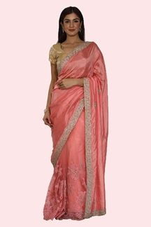 Picture of Desirable Pink Colored Designer Half-half Saree