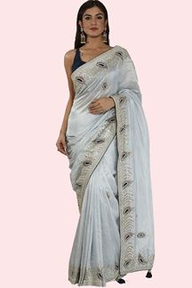 Picture of Stunning Ice Blue & Navy Blue Colored Partywear Dolla-Silk Saree
