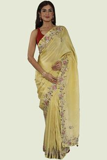 Picture of Appealing Yellow Colored Tissue Silk Saree
