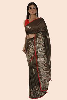 Picture of Groovy Brown Colored Dolla Silk Saree
