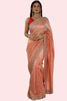 Picture of Mesmeric Peach Colored Partywear Dolla Silk Saree