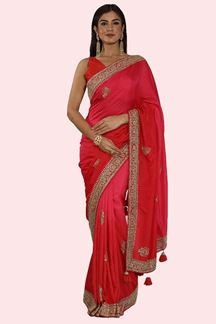 Picture of Pretty Red-Pink Colored Partywear Embroidered Dolla Silk Saree