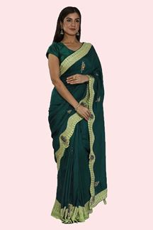 Picture of Demanding Bottle Green Color Dolla Silk Saree