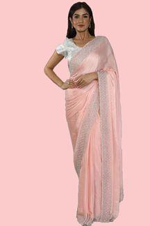 Picture of Crepe Silk Wedding Wear Peach Color Saree