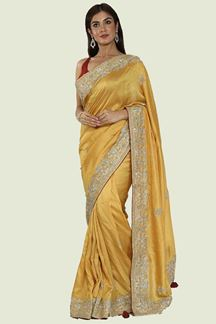 Picture of Mustard Yellow Color Dolla Silk Saree