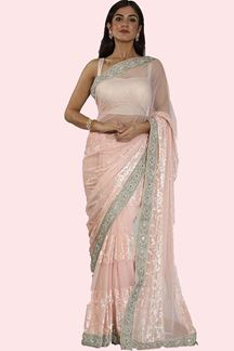 Picture of Excellent Peach Colored Partywear Lycra Saree