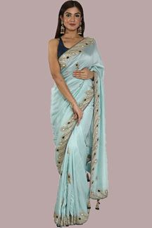 Picture of Stunning Sea Green Colored Partywear Dolla-Silk Saree