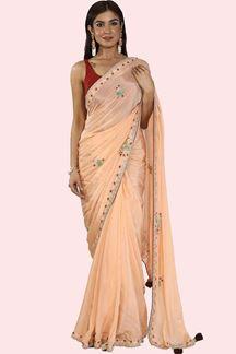 Picture of Innovative Peach Color Crepe Silk Saree