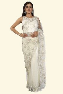 Picture of Cream Color Designer Fancy Net Saree